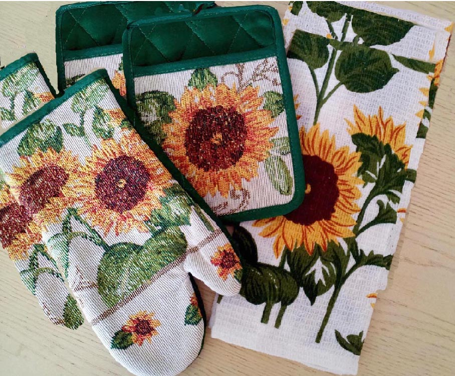 * 7pc Sunflower green edge Cotton Kitchen Towel/Mitt Set