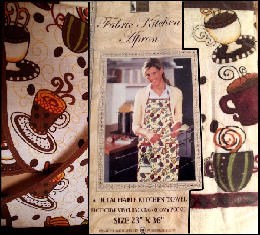 . Coffee Themed Cotton Towel & Craft or Kitchen Apron .