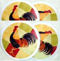 Country Farm Round Rooster Stove Burner Covers