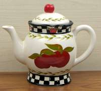 An Apple Ceramic Hand-Painted Country Teapot