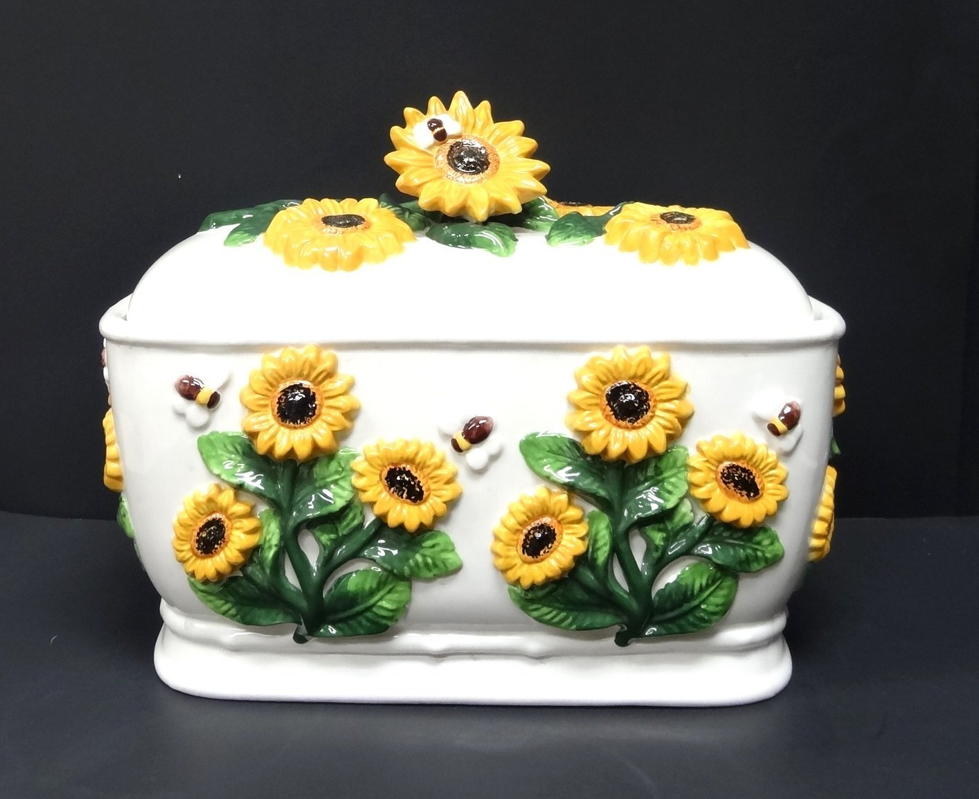 A Sunflower Ceramic Bread Box/Cookie Jar
