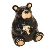 Ceramic Cookie jar Lodge Cabin Black Bear