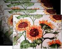 4 Cloth Fabric Tapestry Placemats Sunflower