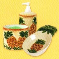~ Tropical Pineapple Themed Soap Pump, Spoonrest/Scrubber Holder