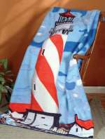 * Fleece Blanket Throw-Nautical Coastal Lighthouse CLEARANCE!