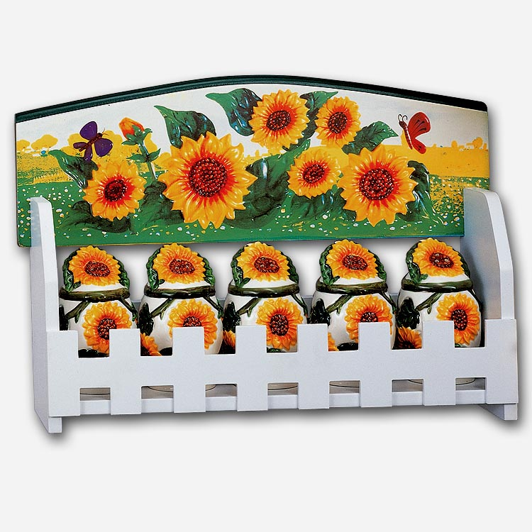 Spice Rack-5 Jars-Country Sunflower