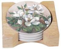 Magnolia Inspiration Floral 4 Stone Coasters & Wood Holder