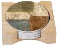 Autumn Leaves Collage 4 Cork Back Stone Coasters & Holder