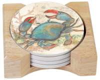Seaside Blue Crab Coastal Beach 4 Stone Coasters & Holder