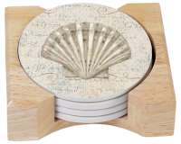 Beach Seashell Coastal Beauty Stone Coaster & Wood Holder