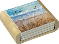 4 Beach Watch Coastal Nautical Stone Coasters & Wood Holder