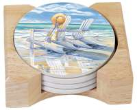 4 Beach Days Coastal Stone Coasters & Wood Holder