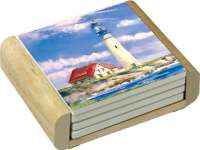 4 Coastal Nautical Lighthouse Stone Coasters& Wood Holder