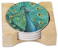 4 Peacock Majestic Beauty Stone Coasters & Wood Holder