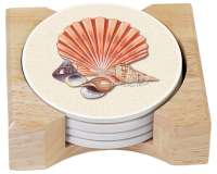 Beach Seashell Treasures 4 Coastal Stone Coasters & Holder