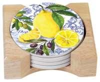 Lemons And Olives Fruit 4 Stone Coasters & Wood Holder