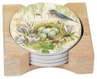 Natures Trail Bird Nest 4 Stone Coasters & Wood Holder