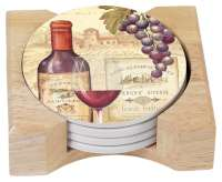 * 4 Cork Back Stone Coasters & Wood Holder Wine Tradition
