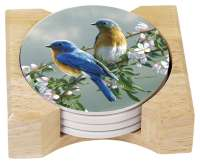 Hautman Beautiful Songbirds Bluebird 4 Stone Coasters & Holder