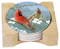 Hautman Beautiful Songbirds Cardinals 4 Stone Coasters& Holder