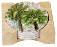 * 4 Aqua Escape Tropical Palm Tree Stone Coasters & Holder