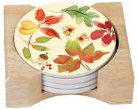 Fruitful Harvest Autumn Leaves 4 Stone Coasters & Wood Holder