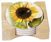 * 4 Sunflowers in Bloom Cork on Stone Coasters & Holder