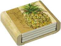 Tropical Pineapple Themed 4 Stone Coasters & Wood Holder