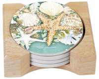 4 Beach Coastal Wreath Seashell Stone Coaster & Wood Holder