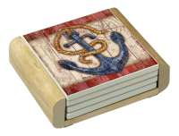4 Coastal Nautical Seas The Day Stone Coasters& Wood Holder