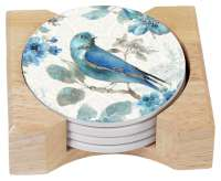 Indigold Bluebird Songbird 4 Stone Coasters & Wood Holder