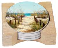 Coastal Beach Path to the Beach 4 Stone Coasters & Holder