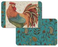 * 4 Reversible Plastic Farm Placemats Rainbow Rooster