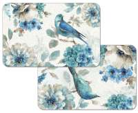 * 4 Bird Floral Reversible Plastic Placemats Indigold