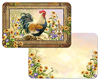 * 4 Country Charm Farm Rooster Sunflower Placemats  -
