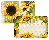 * 4 Yellow Sunflowers in Bloom Vinyl-Plastic Placemats