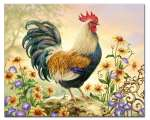 * Country Charm Rooster Glass Cuttingboard Serving Tray