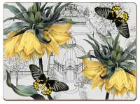 * 4 CorkBacked Hardboard Placemats Conservatory Yellow Floral