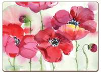 * 4 CorkBacked Hardboard Table-Placemats Floral Red Poppies