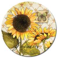 A Yellow Sunflowers In Bloom LazySusan Turntables - Tempered Gla