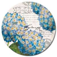 Blue Botanical Hydrangeas Floral Glass LazySusan Turntables