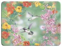 Country Hummingbird Wildlife Glass Cuttingboard Serving Tray