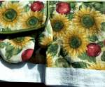5pc Cotton Kitchen Towel-Mitt-Potholder Country Sunflower