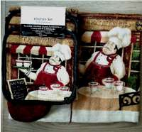 7pc Coffee Cafe Cotton Kitchen Towel-Mitt-Potholder