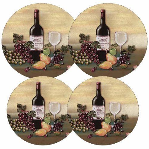Wine Bottle - Grape Round Stove Burner Covers