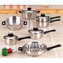 17pc 9 Elem Waterless Stainless Steel Cookware